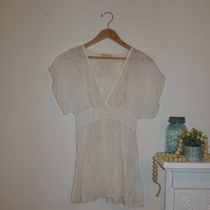 Forever 21 White Embroidered Tunic